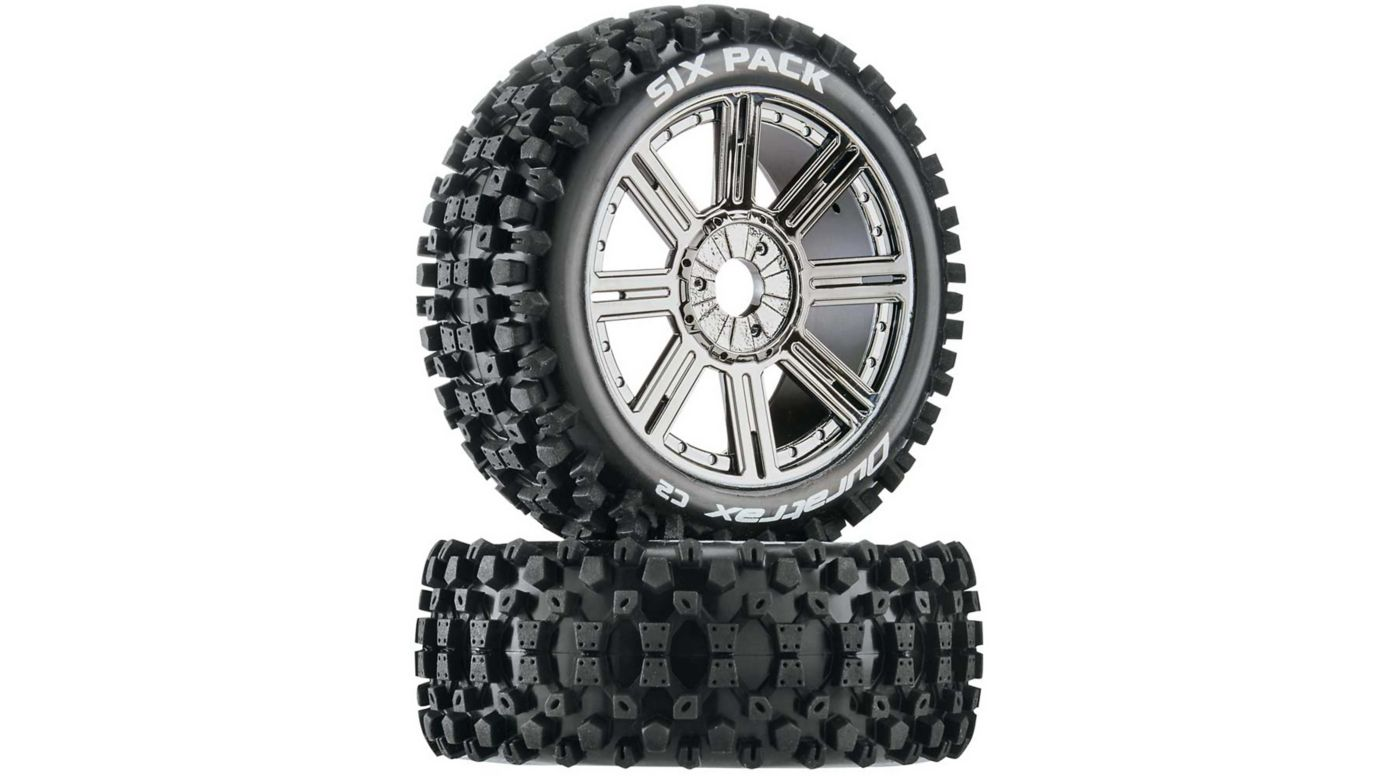Image for Six-Pack C2 Mounted Buggy Spoke Tires, Chrome (2) from HorizonHobby