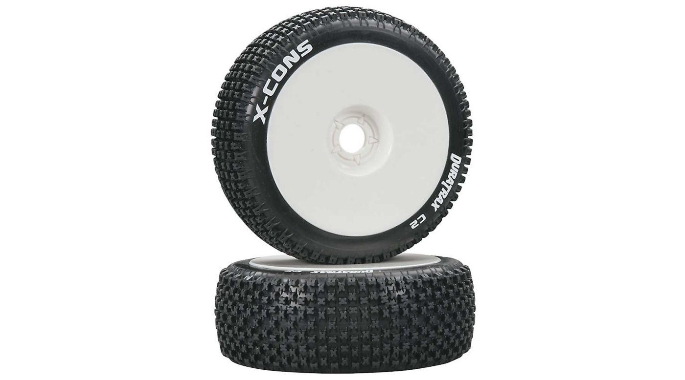 Image for X-Cons 1/8 C2 Mounted Buggy Tires, White (2) from HorizonHobby