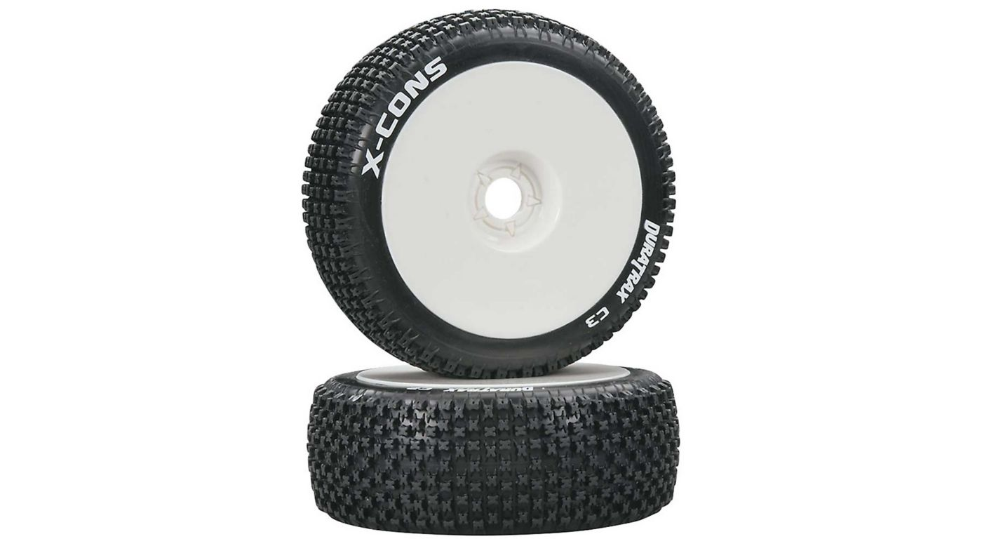 Image for X-Cons 1/8 C3 Mounted Buggy Tires, White (2) from HorizonHobby