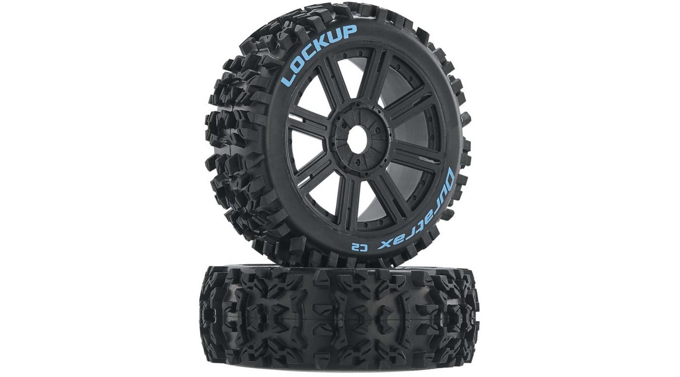 Image for Lockup 1/8 C2 Mounted Buggy Spoke Tires, Black (2) from HorizonHobby