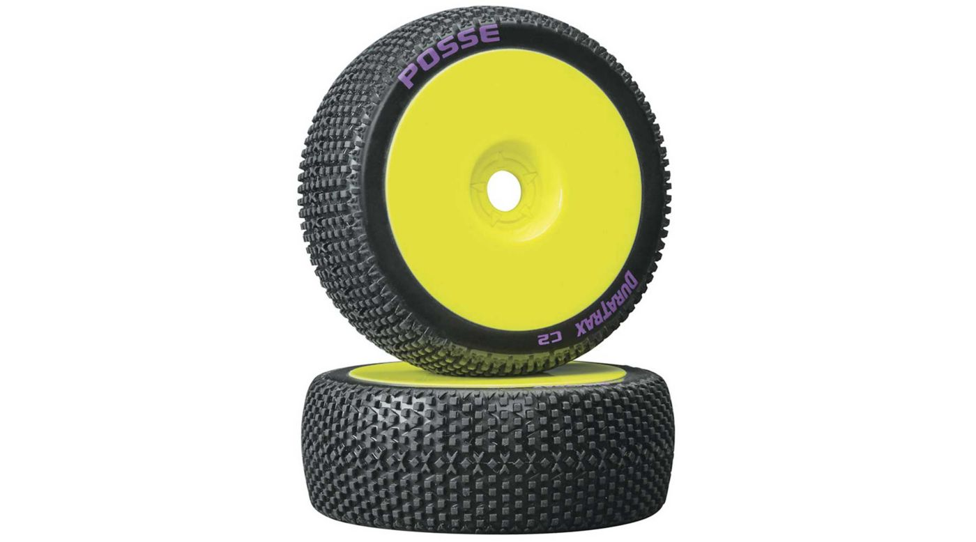Image for Posse 1/8 C2 Mounted Buggy Tires, Yellow (2) from HorizonHobby