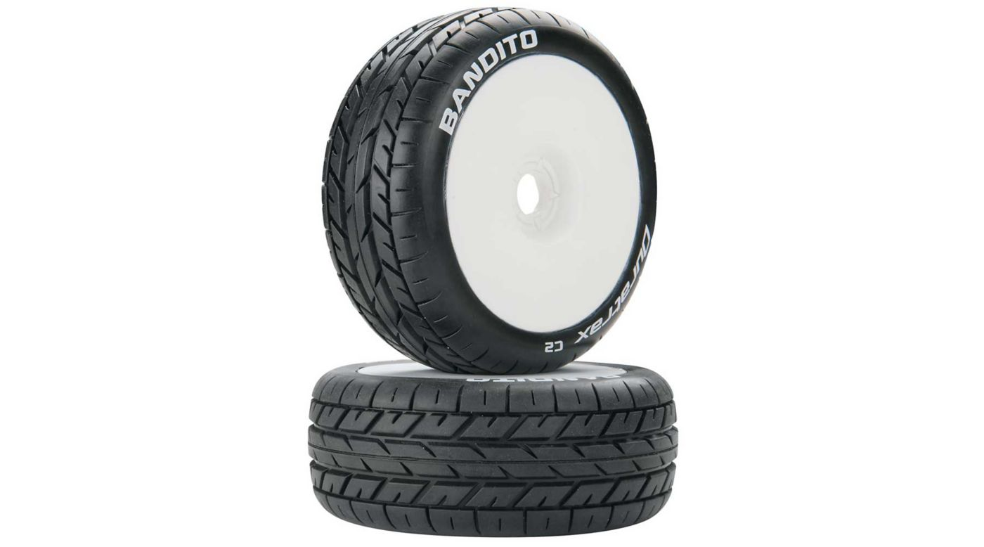 Image for Bandito 1/8 Buggy C2 Mounted Buggy Tires, White (2) from HorizonHobby