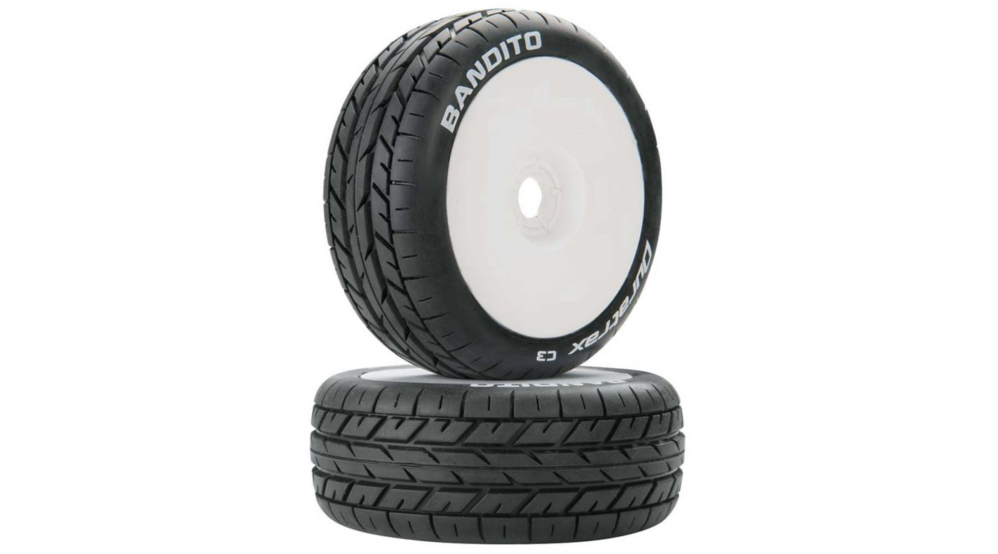 Image for Bandito 1/8 C3 Mounted Buggy Tires, White (2) from HorizonHobby