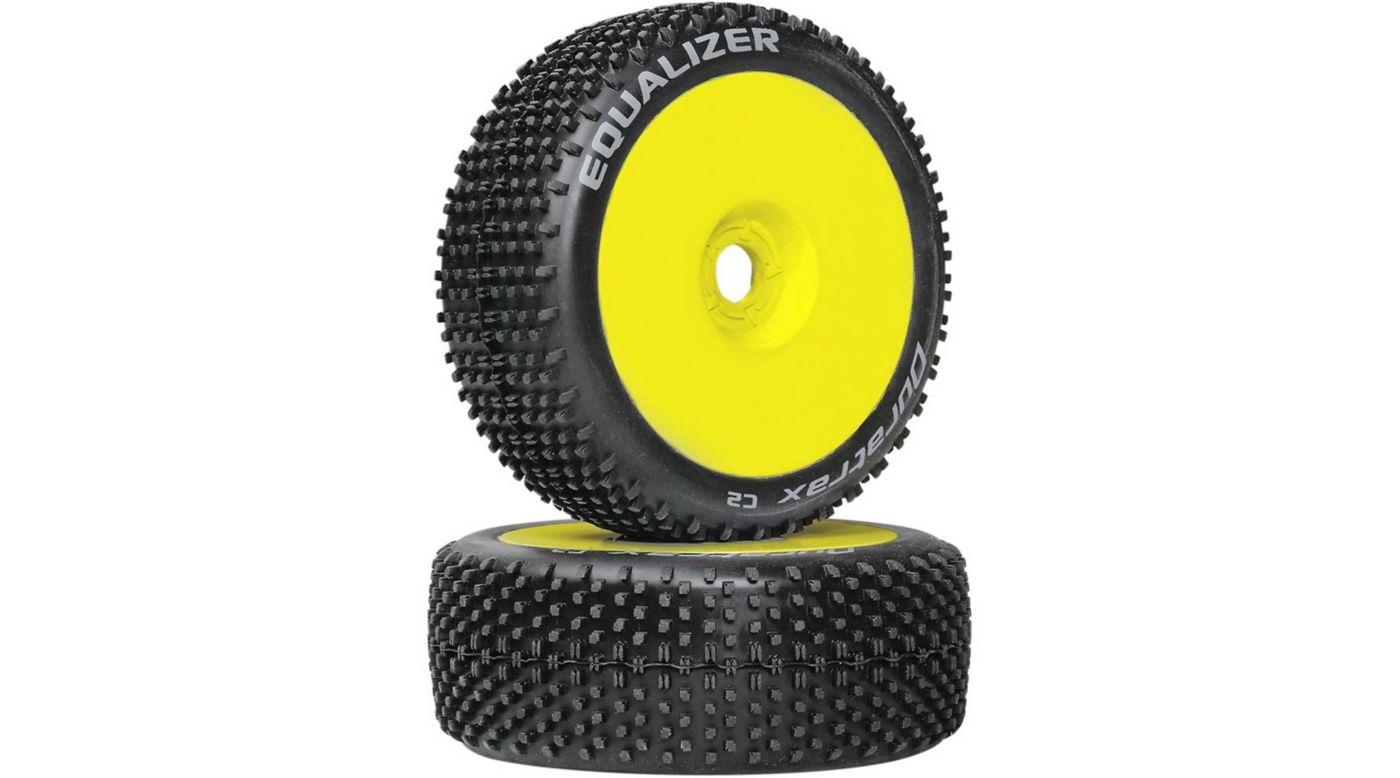 Image for Equalizer 1/8 C2 Mounted Buggy Tires, Yellow (2) from HorizonHobby