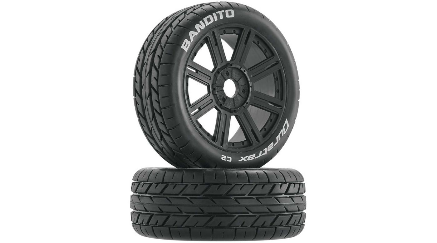 Image for Bandito 1/8 Buggy Tire C2 Mounted Spoke Tires, Black (2) from HorizonHobby