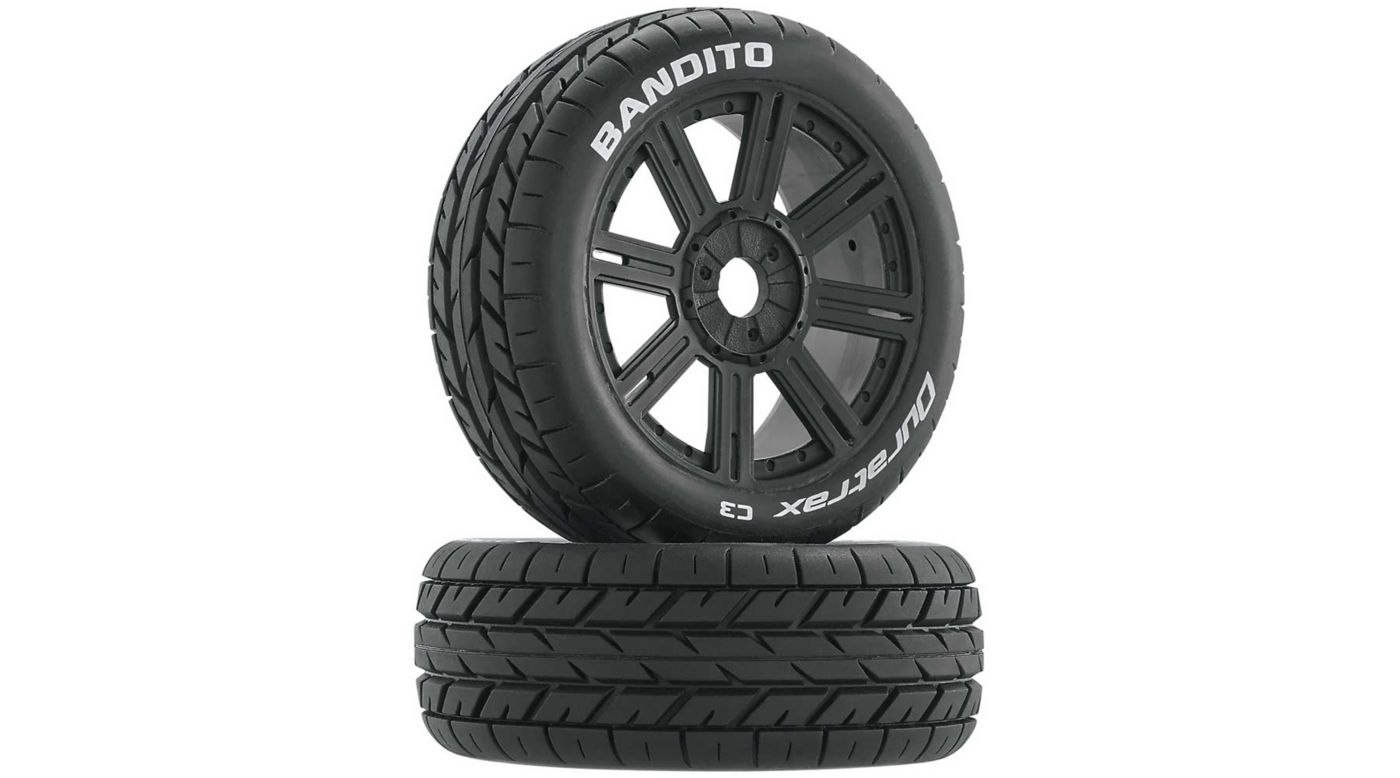 Image for Bandito 1/8 Buggy Tire C3 Mounted Spoke Tires, Black (2) from HorizonHobby