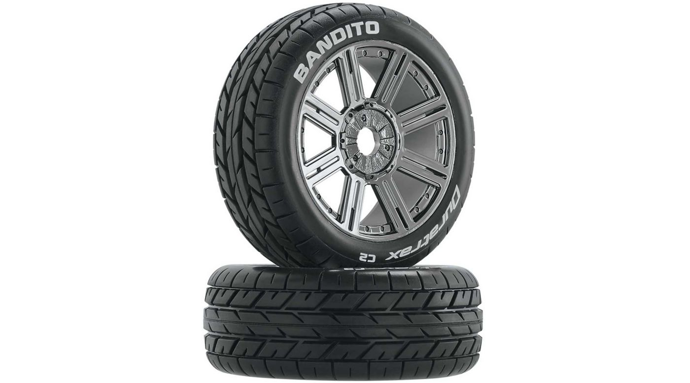 Image for Bandito 1/8 Buggy Tire C2 Mounted Spoke Tires, Chrome (2) from HorizonHobby