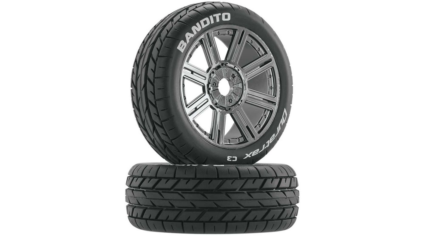 Image for Bandito 1/8 Buggy Tire C3 Mounted Spoke Tires, Chrome (2) from HorizonHobby