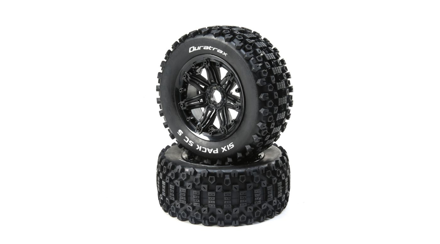 Image for Six Pack 1/5 SC Sport Mounted Black Tires 24mm (2) from HorizonHobby