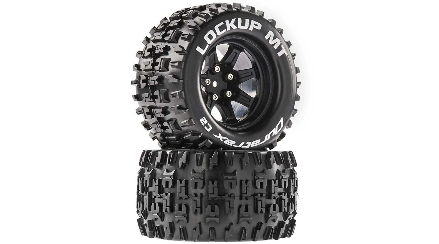 Image for Lockup MT 2.8 Mounted Tires, Black 14mm Hex (2) from HorizonHobby