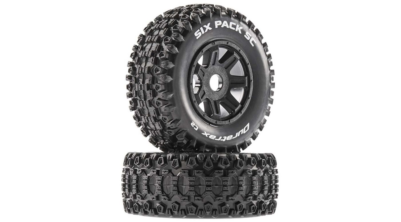 Image for Six Pack SC Mounted Soft Tires, Black 17mm Hex (2) from HorizonHobby