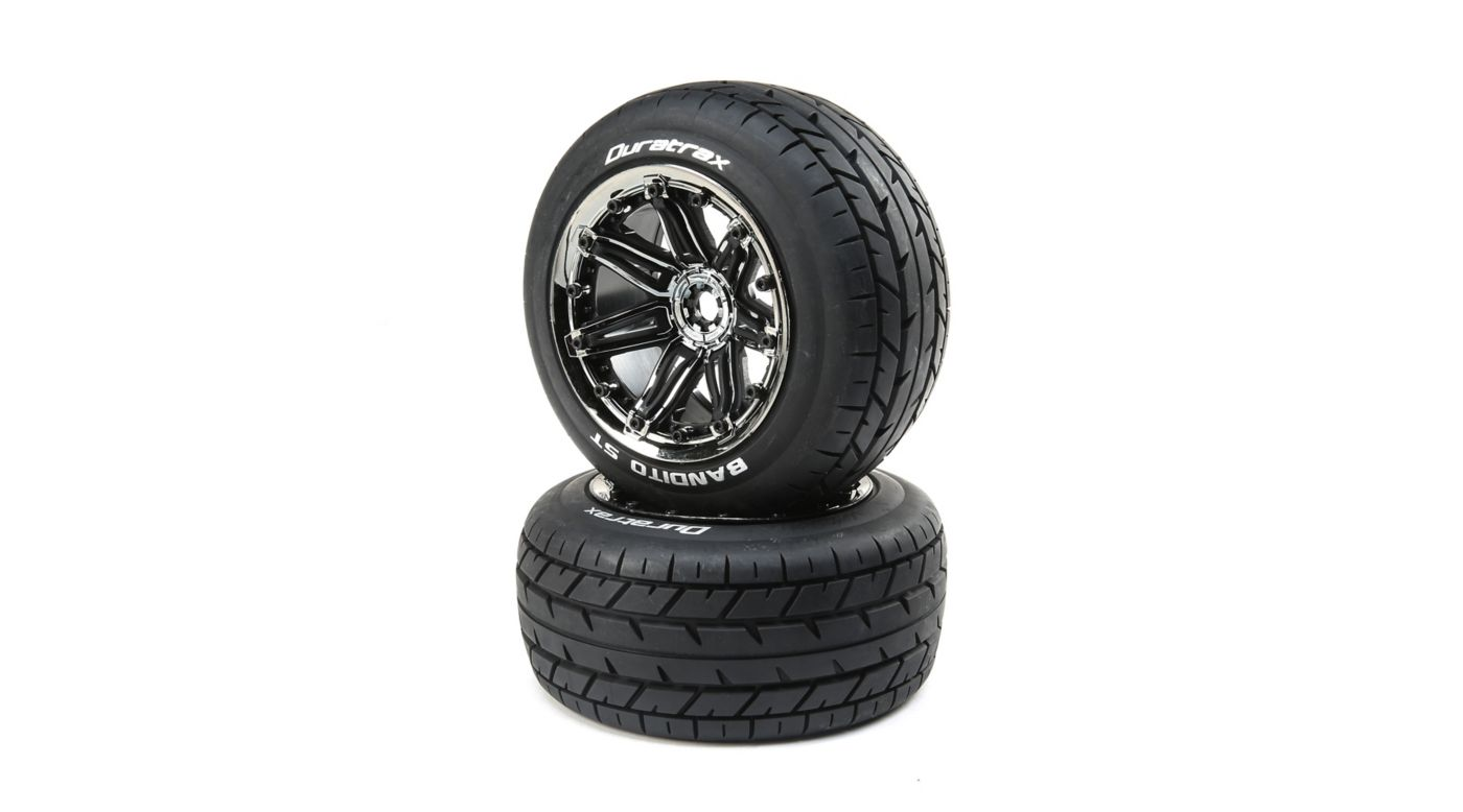 Image for Bandito 1/8 ST Sport Mounted Black Tires with Chrome 17mm (2) from HorizonHobby