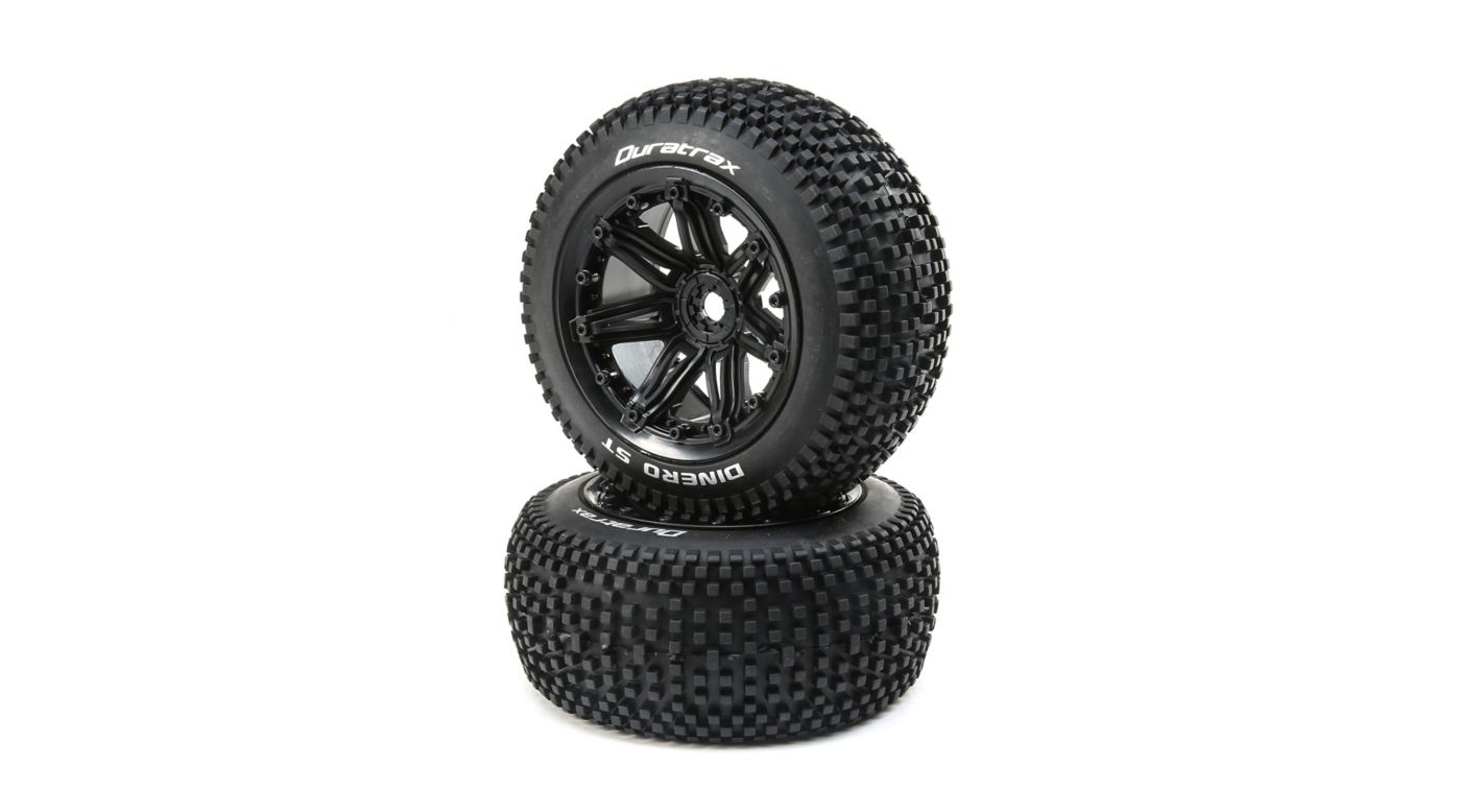 Image for Dinero 1/8 ST Sport Mounted Black Tires 17mm (2) from HorizonHobby