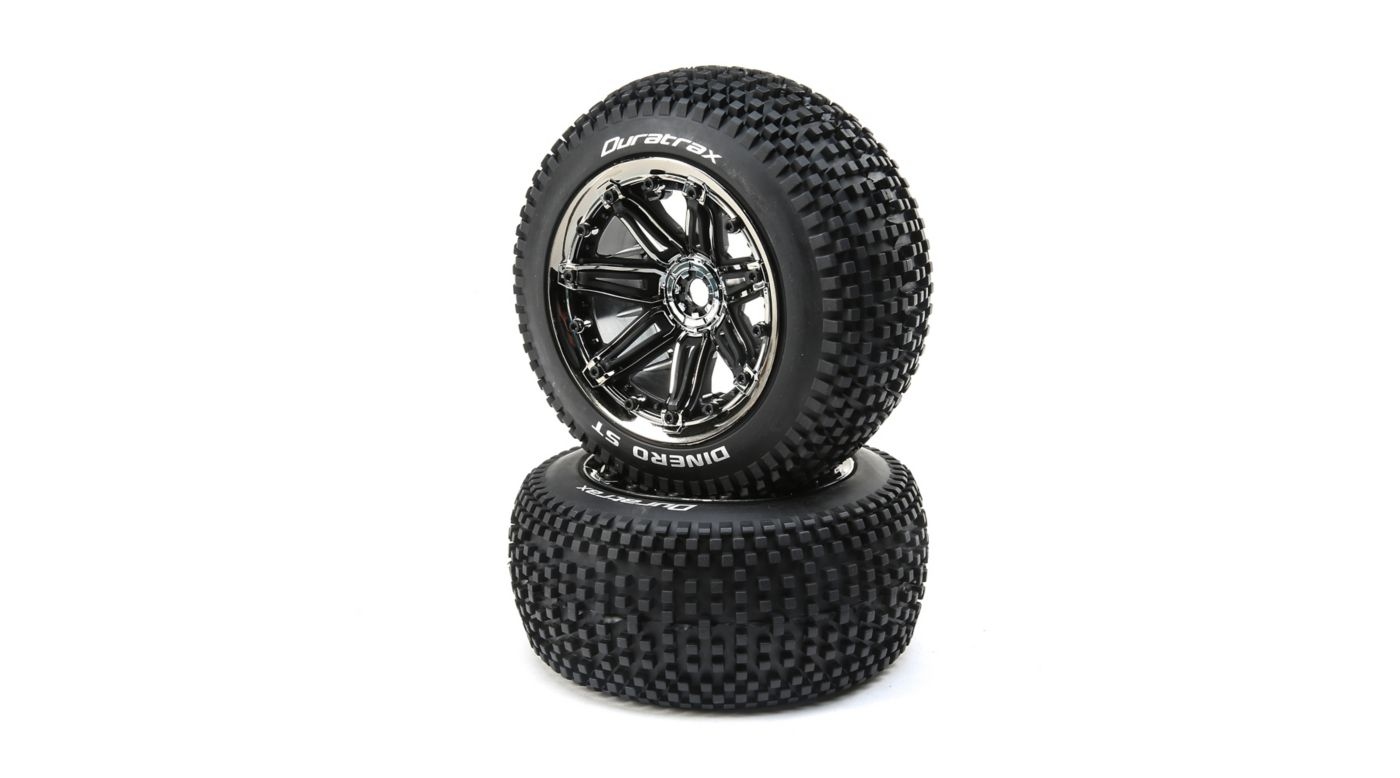 Image for Dinero 1/8 ST Sport Mounted Black Tires with Chrome 17mm (2) from HorizonHobby