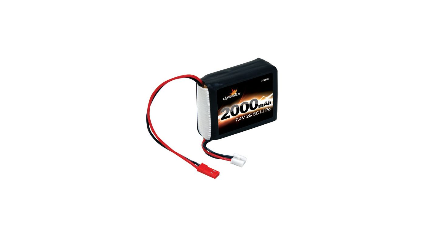 Image for 7.4V 2000mAh 5C 2S Li-Po Receiver Pack: 1/8 from HorizonHobby
