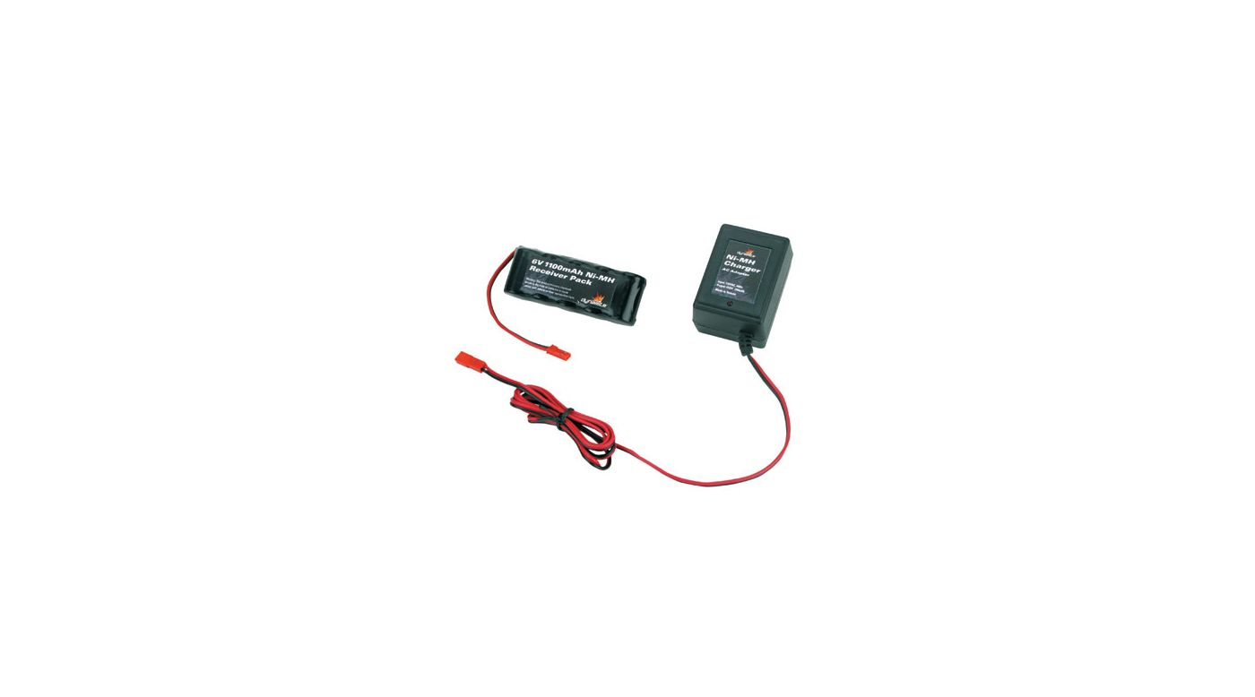Image for 6V 1100mAh NiMH Receiver Flat Pack with Charger from HorizonHobby
