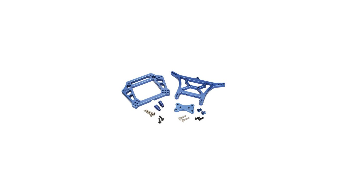 Image for Aluminum Front, Rear Shock Tower Combo, Blue: SLH from HorizonHobby