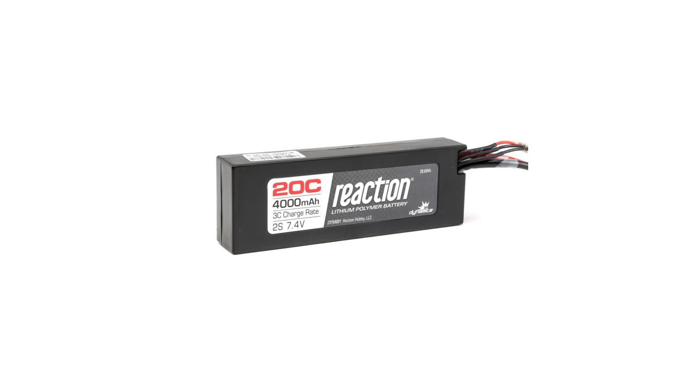 Image for Reaction 7.4V 4000mAh 2S 20C LiPo Hardcase: EC3 from Horizon Hobby