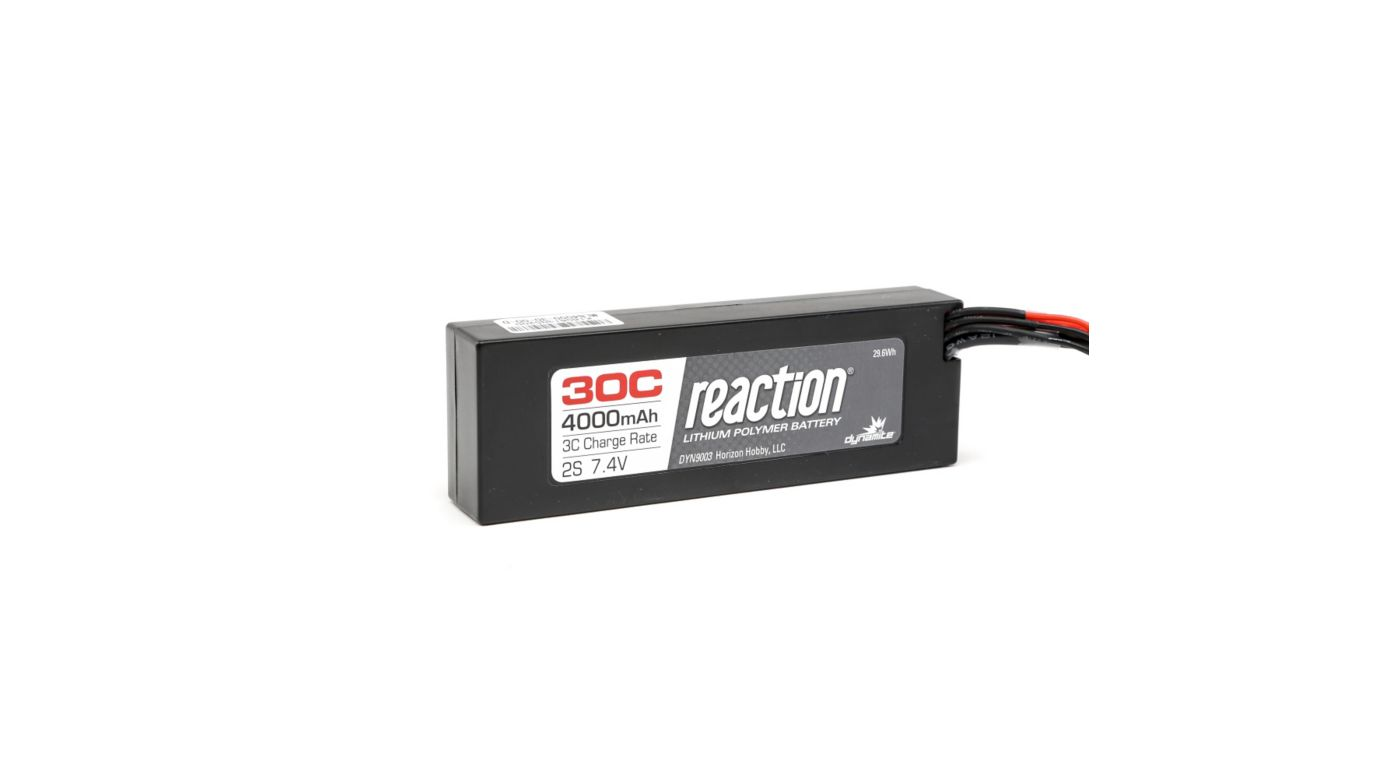 Image for Reaction 7.4V 4000mAh 2S 30C LiPo Hardcase: Deans from HorizonHobby