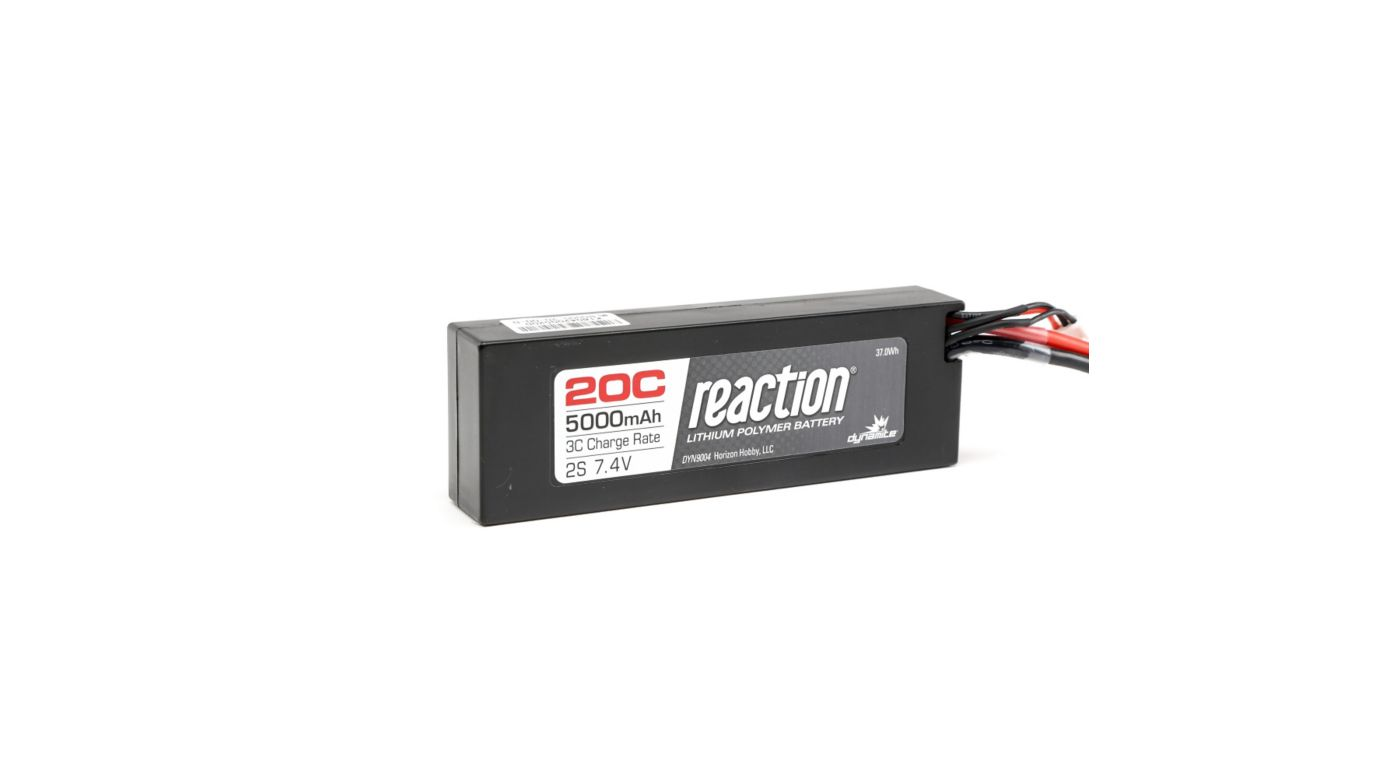 Image for 7.4V 5000mAh 2S 20C Reaction Hardcase LiPo Battery: EC3 from HorizonHobby