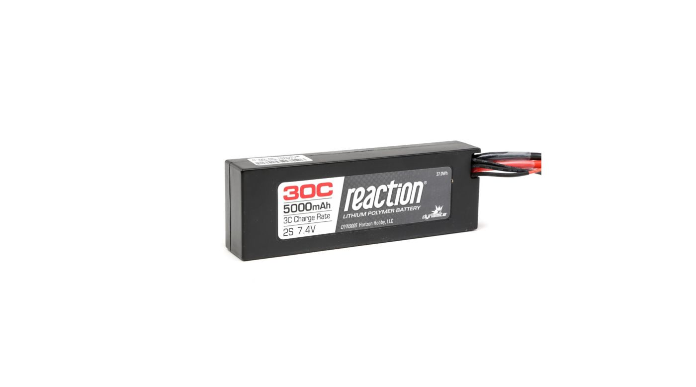 Image for 7.4V 5000mAh 2S 30C Reaction Hardcase LiPo Battery: EC3 from HorizonHobby