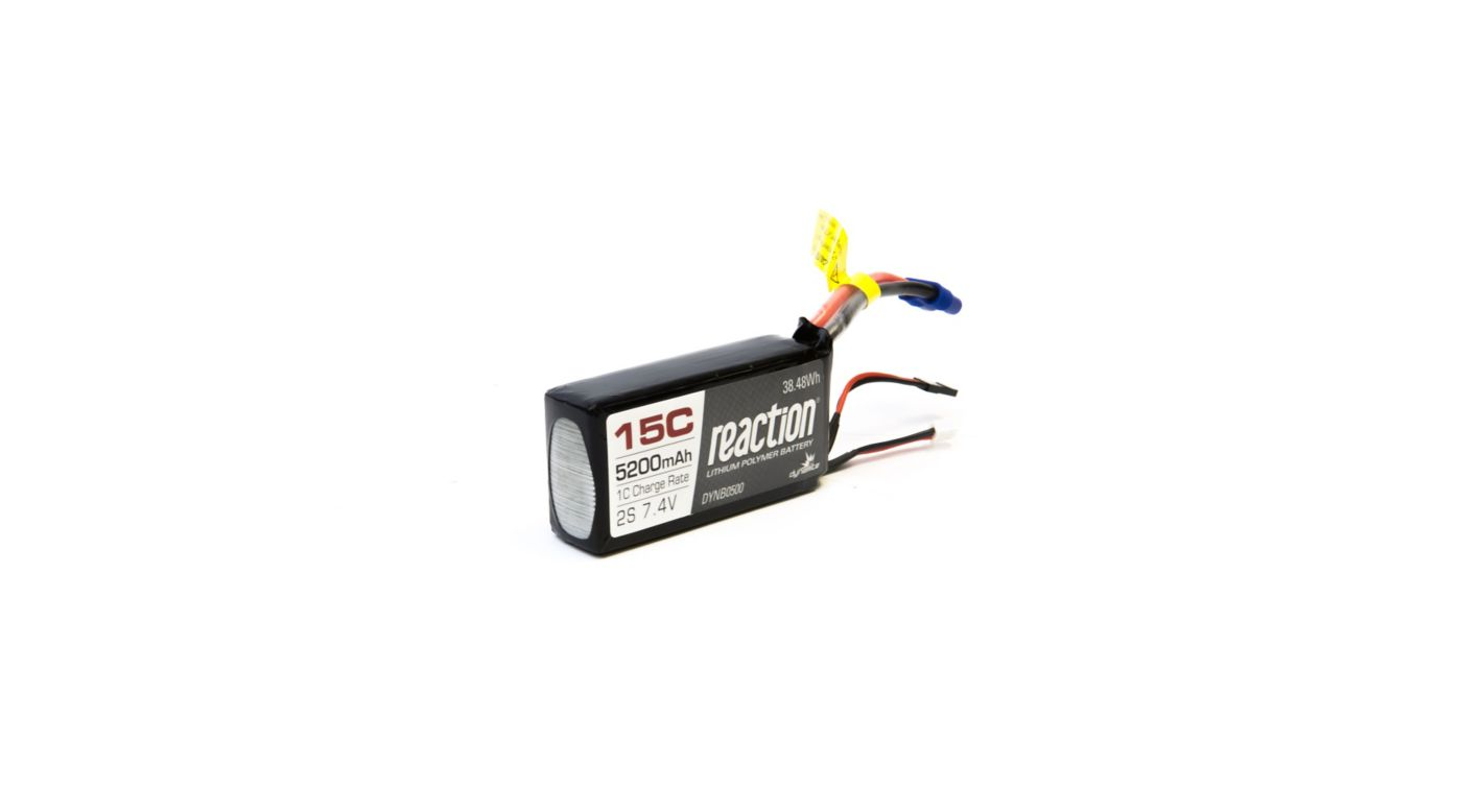 Image for Reaction 7.4V 5200mAh 15C 2S LiPo Battery: EC3 from HorizonHobby