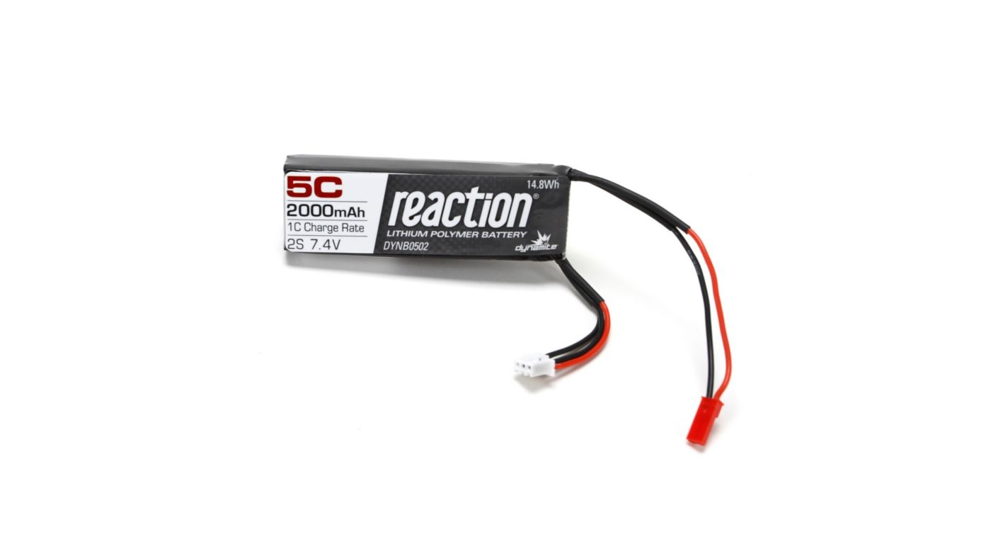 Reaction 7.4V 2000mAh 5C 2S LiPo Receiver Pack: XXL-2