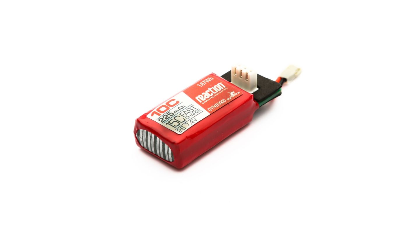 Image for Reaction 225mAh 2S 7.4V 10C HyperCharge LiPo Battery from HorizonHobby