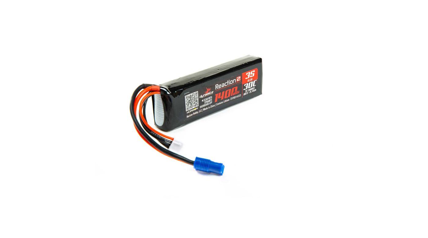 Image for Reaction 2.0 11.1V 1400mAh 30C 3S LiPo Battery, Long, EC3 Minis from HorizonHobby