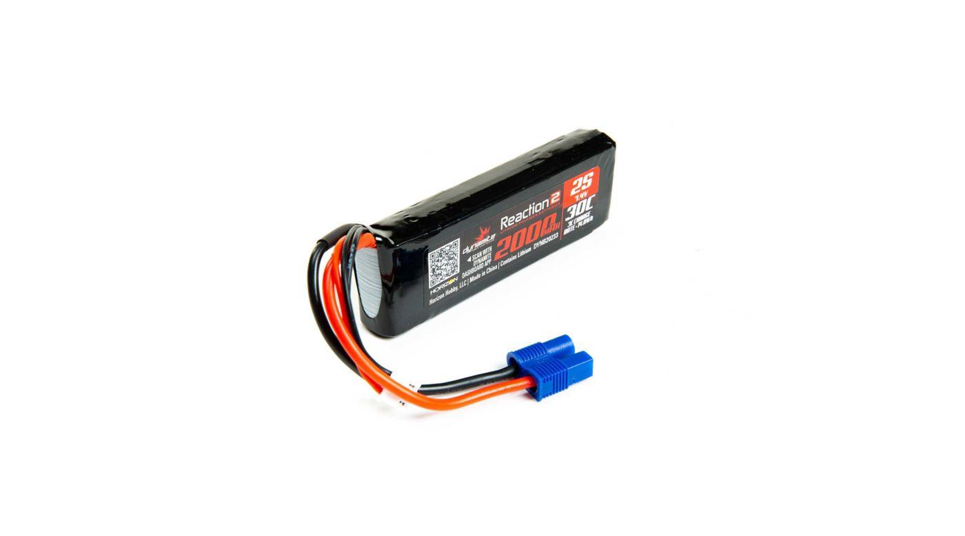 Image for Reaction 2.0 7.4V 2000mAh 30C 2S LiPo Battery, Long, EC3 Minis TWH from HorizonHobby
