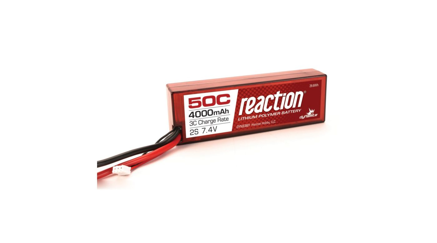 Image for Reaction 7.4V 4000mAh 50C 2S LiPo, Hardcase: TRA from HorizonHobby