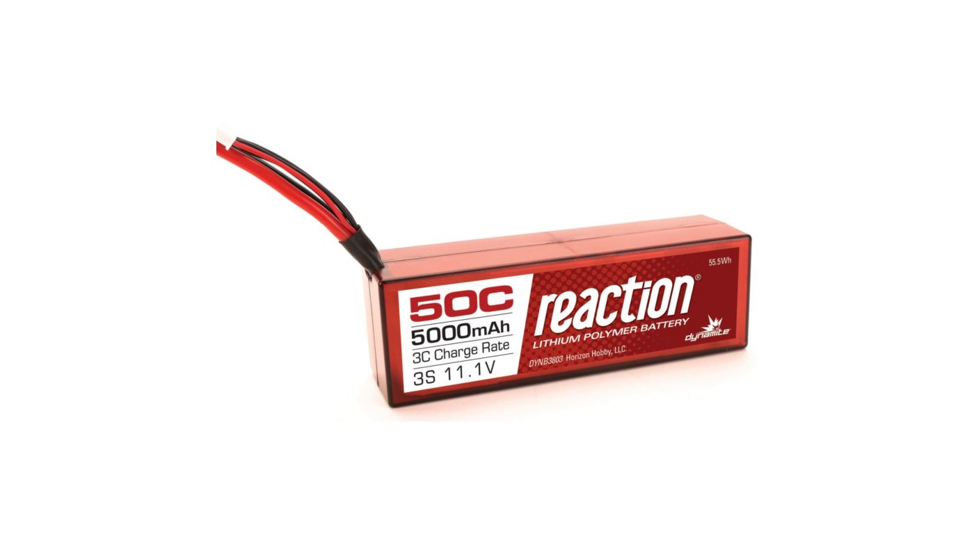 Image for Reaction 11.1V 5000mAh 50C 3S LiPo, Battery, Hardcase: EC3 from HorizonHobby