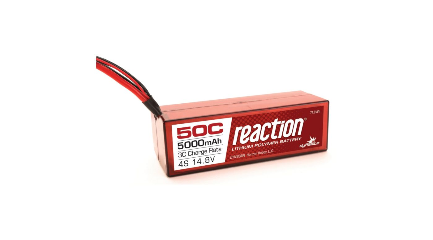 Image for Reaction 14.8V 5000mAh 50C 4S LiPo, Hardcase: Deans from HorizonHobby