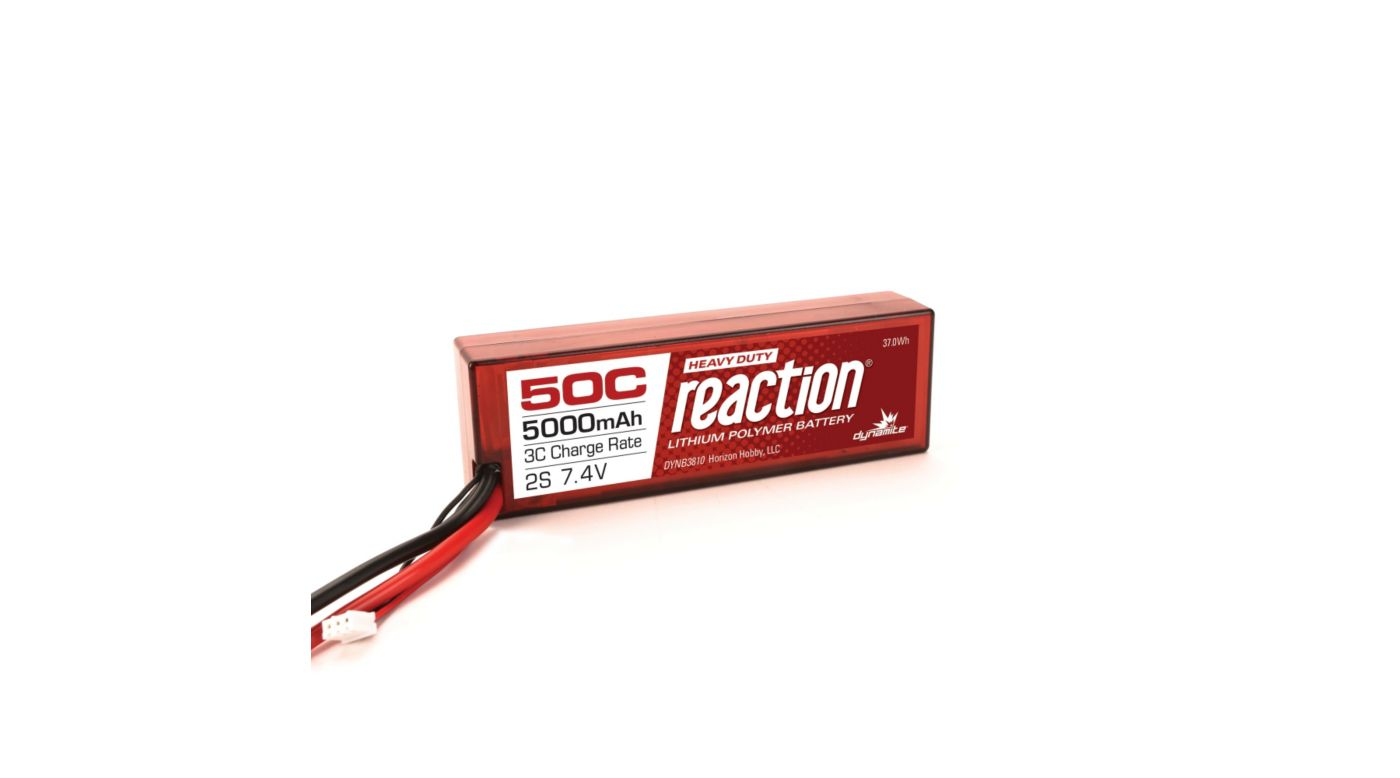 Image for Reaction HD 7.4V 5000mAh 50C 2S LiPo, Hardcase: EC5 from Horizon Hobby