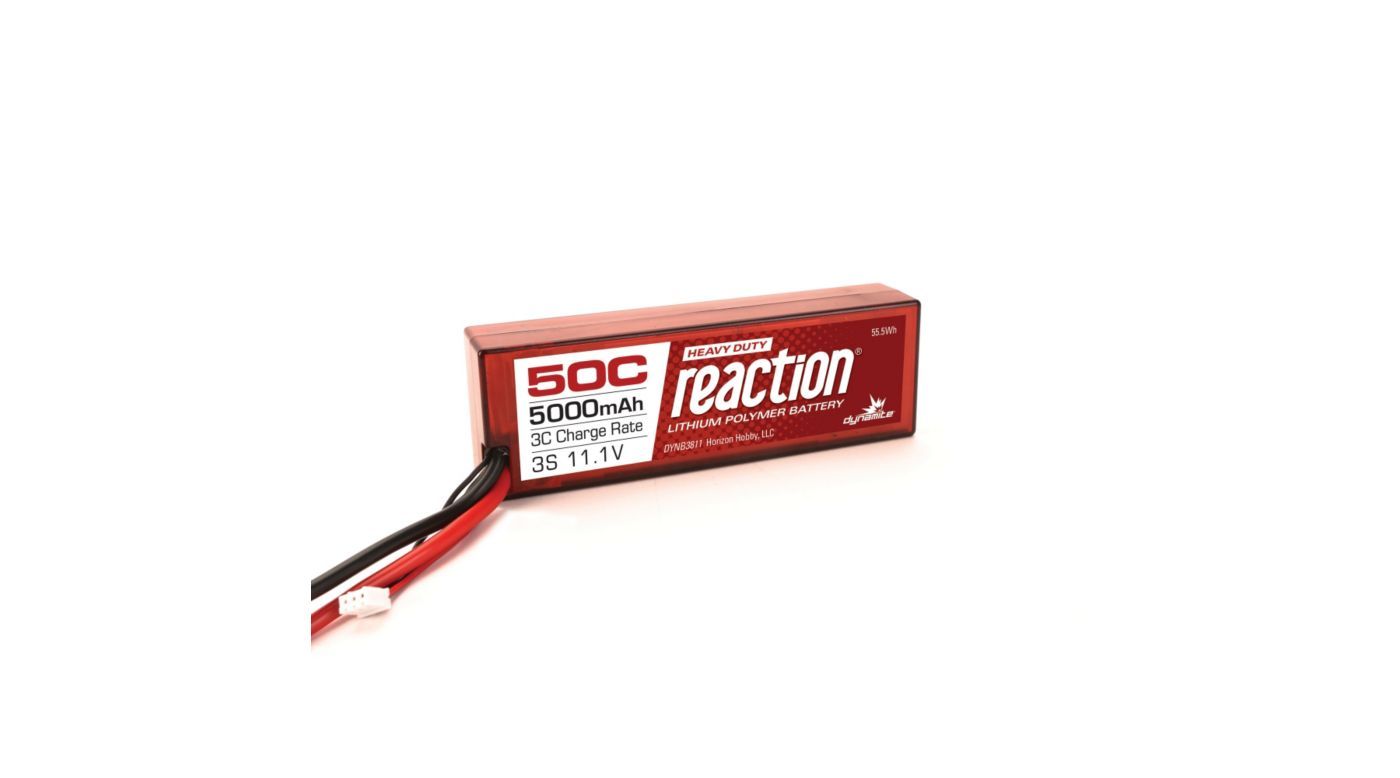 Image for Reaction HD 11.1V 5000mAh 50C 3S LiPo, Battery, Hardcase: EC5 from HorizonHobby