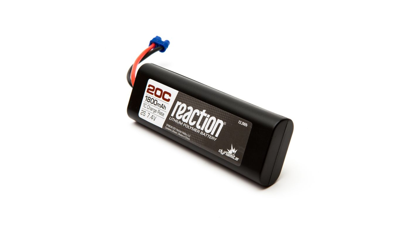 Image for Reaction 7.4V 1800mAh 20C 2S LiPo, Hardcase: EC3 from HorizonHobby