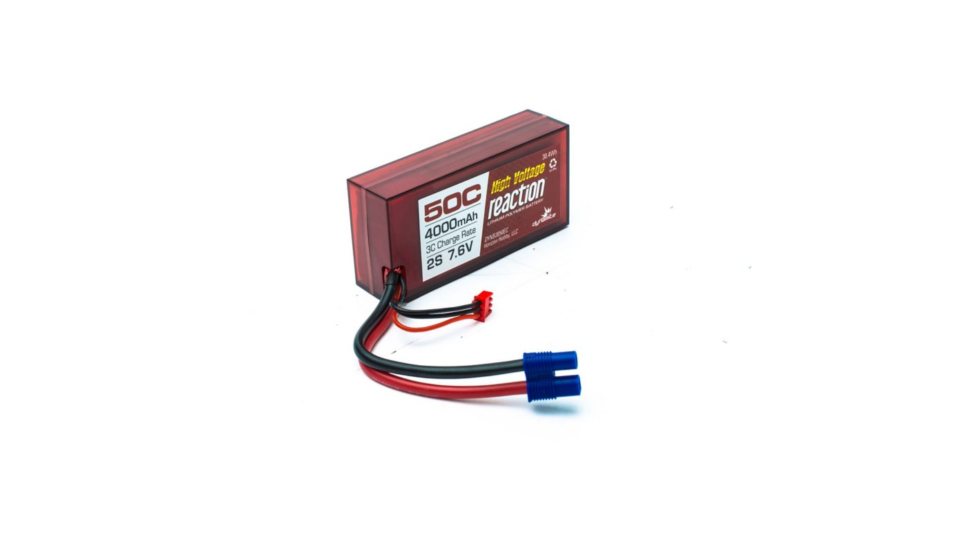 Image for Reaction HV 7.6V 4000mAh 50C 2S LiPo, Hardcase, Shorty: 25mm, EC3 from Horizon Hobby