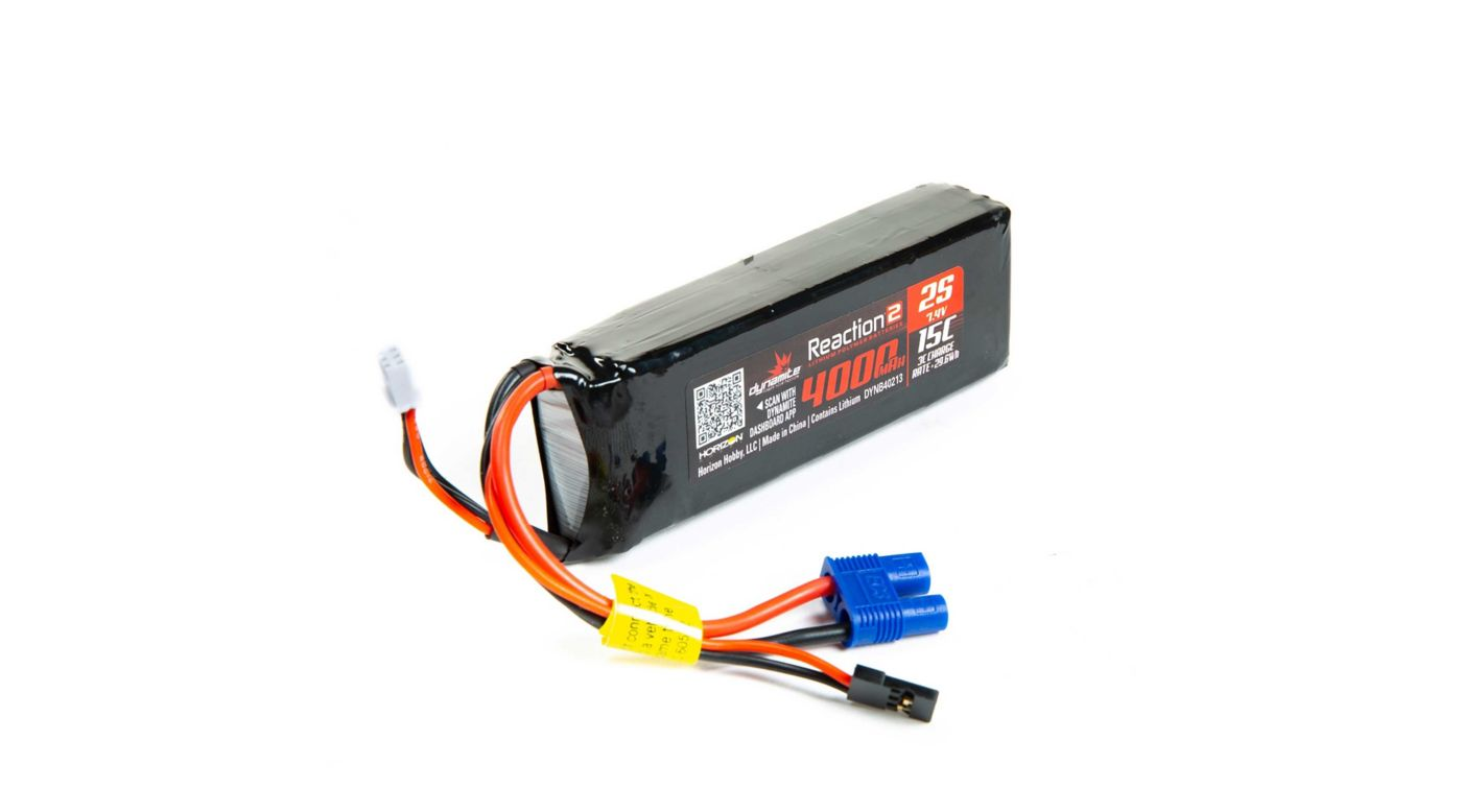 Image for Reaction 2.0 7.4V 4000mAh 15C 2S LiPo Receiver Pack: DBXL from HorizonHobby