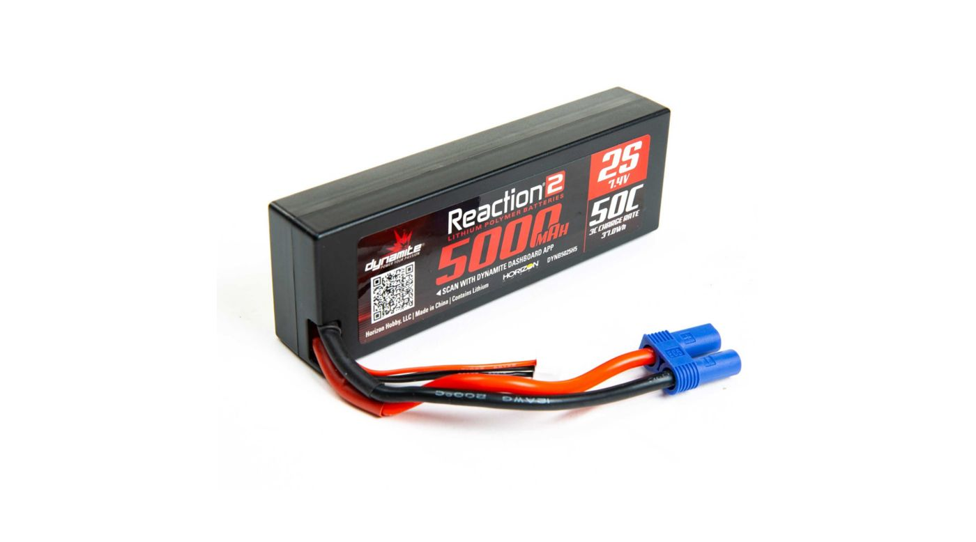 Image for 7.4V 5000mAh 2S 50C Reaction 2.0 Hardcase LiPo Battery: EC5 from Horizon Hobby