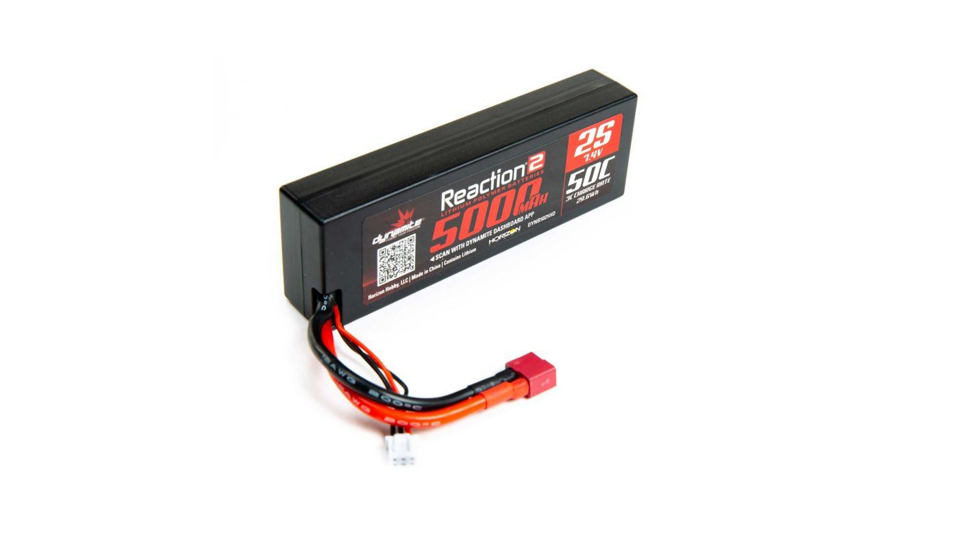 Image for 7.4V 5000mAh 2S 50C Reaction 2.0 Hardcase LiPo Battery: Deans from HorizonHobby