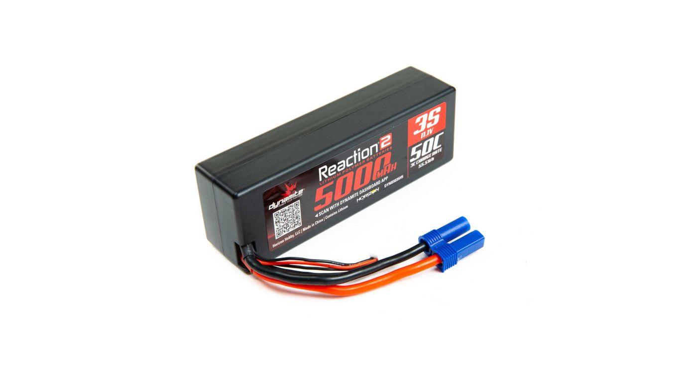 Image for Reaction 2.0 11.1V 5000mAh 50C 3S Hardcase LiPo Battery, EC5 from HorizonHobby