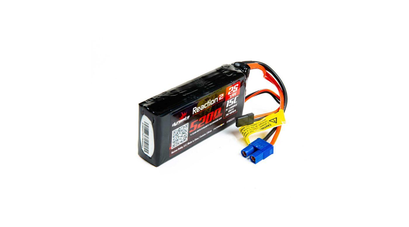 Image for Reaction 2.0 7.4V 5200mAh 15C 2S LiPo Battery: 5IVE-T, 5IVE-B, Mini WRC from HorizonHobby