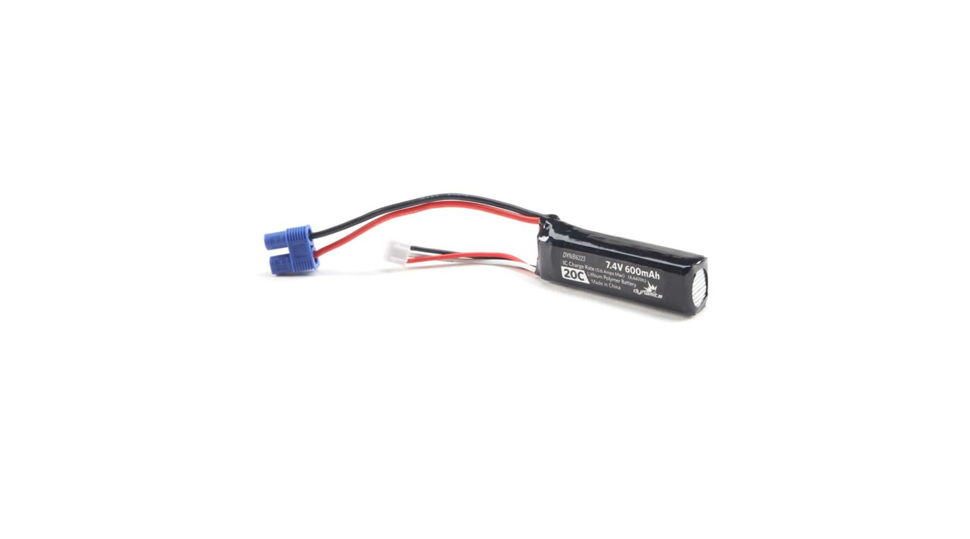 Image for 7.4V 600mAh 2S 20C LiPo: EC3 from HorizonHobby