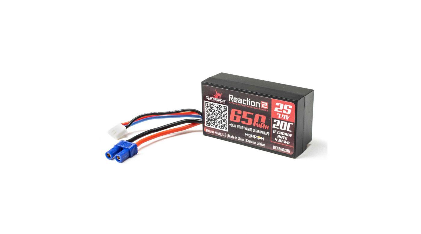 Image for 7.4V 650mAh 2S 20C Hardcase LiPo Battery: EC2 from HorizonHobby