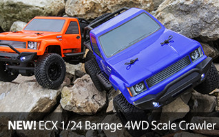 The 4x4 Barrage 1/24 Scaler from ECX features true-to-scale looks and realistic details, officially licensed Falken Wildpeak MT tires and integrated LED lights brings adventure anywhere