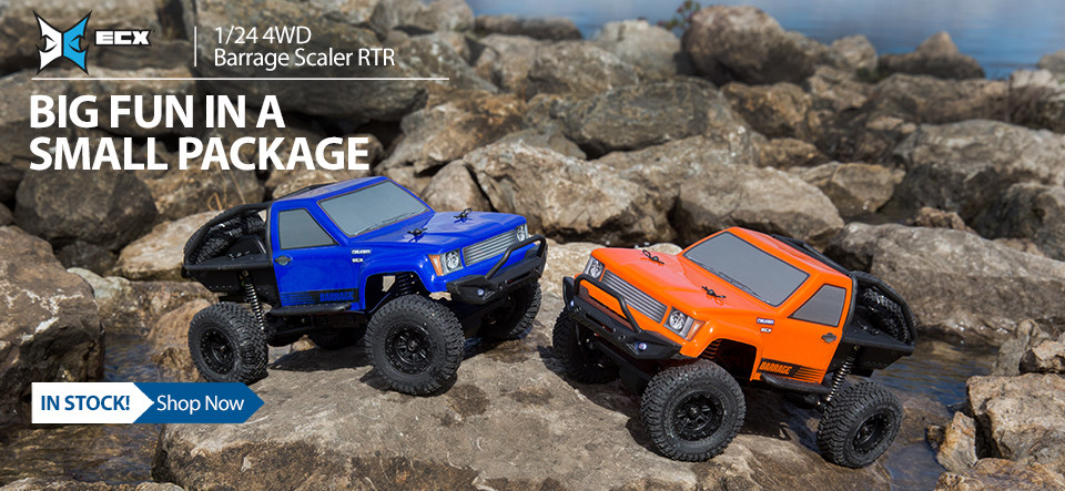 The 4x4 Barrage 1/24 Scaler from ECX features true-to-scale looks and realistic details, officially licensed Falken Wildpeak MT tires and integrated LED lights brings adventure anywhere.
