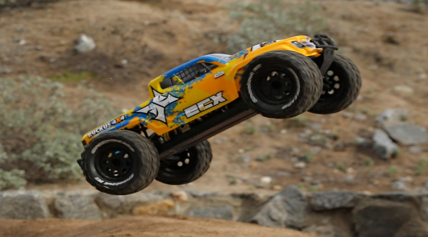 Image for 1/10 Ruckus 4WD Monster Truck Brushless RTR with AVC, Orange/Blue from HorizonHobby