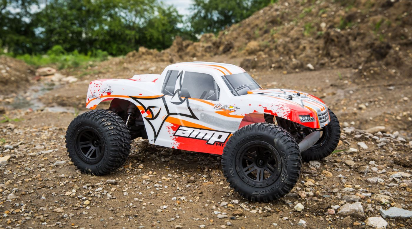 Image for 1/10 AMP MT 2WD Monster Truck Brushed RTR, White/Orange from HorizonHobby