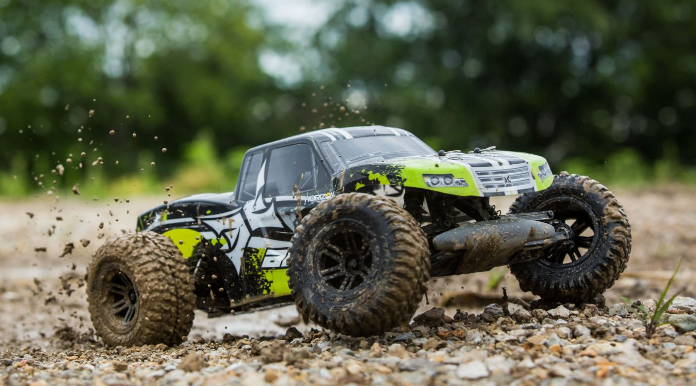 Image for 1/10 AMP MT 2WD Monster Truck Brushed RTR, Black/Green from HorizonHobby