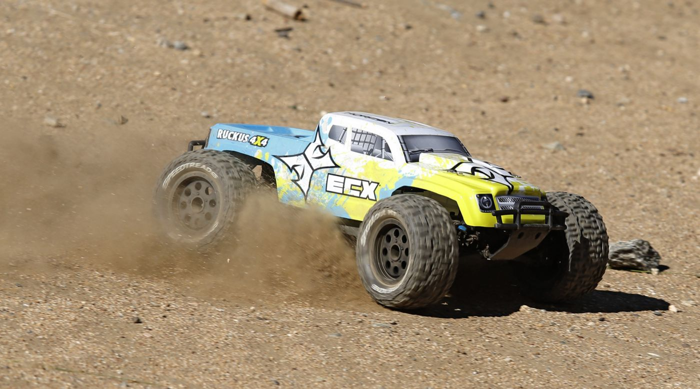 Image for 1/10 Ruckus 4WD Monster Truck Brushed RTR, Blue/Yellow from HorizonHobby